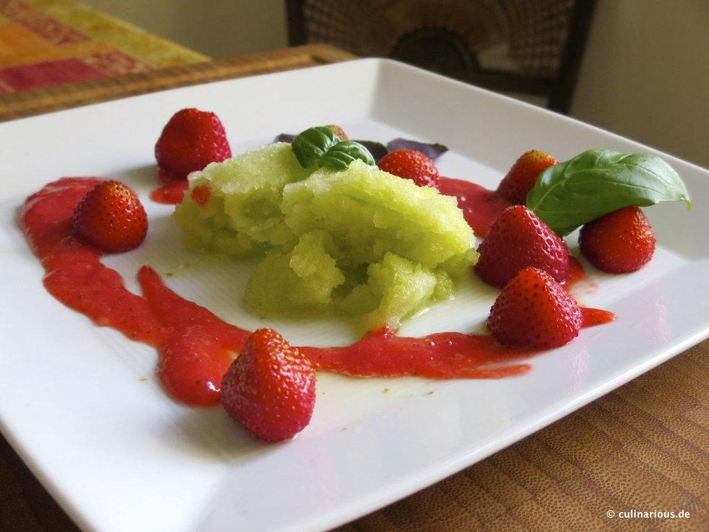 Lime and basil sorbet